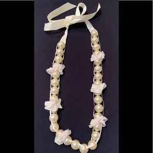 Pearl Necklace with Ribbon Bow Closure. Drop 15""